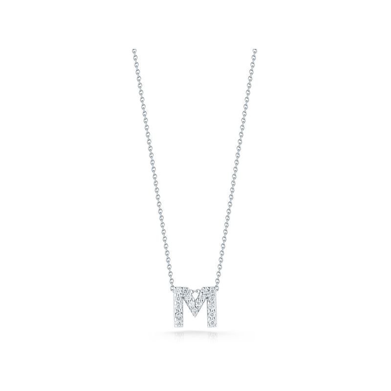 Roberto Coin 18Kt Gold Love Letter M Pendant With Diamonds