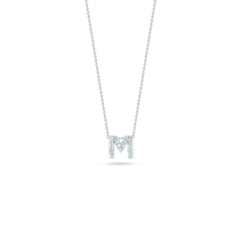 18KT GOLD LOVE LETTER M PENDANT WITH DIAMONDS