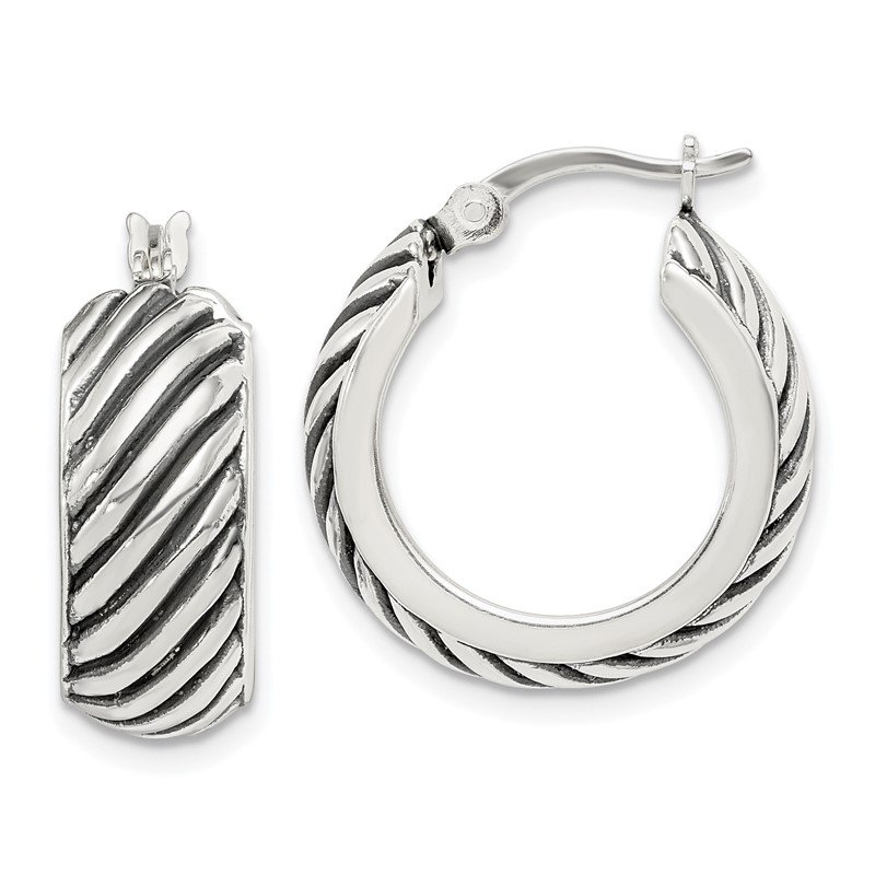 J.F. Kruse Signature Collection Sterling Silver Antiqued Hoop Earrings