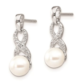 Sterling Silver Rhod Plated Diamond and FW Cultured Pearl Post Ear