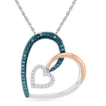 10KT Pink Gold & Sterling Silver with BLUE & WHITE Diamond Heart Pendant