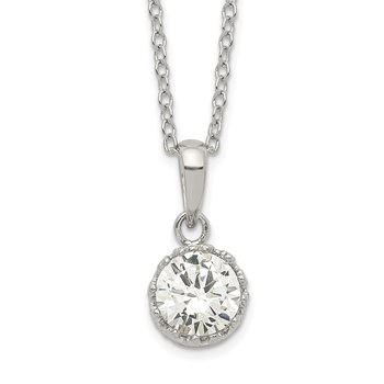 Sterling Silver Rhodium-plated Polished CZ Necklace