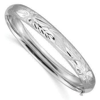 14k 5/16 White Gold Florentine Engraved Hinged Bangle