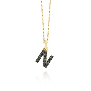 "Black Diamond Baby Block Initial ""N"" Necklace"