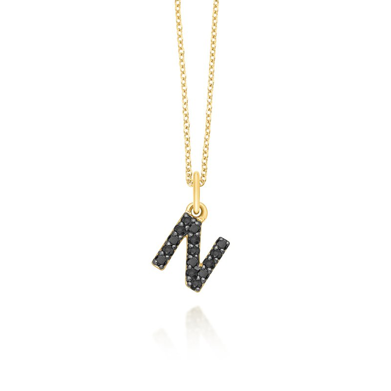 "KC Designs Black Diamond Baby Block Initial ""N"" Necklace"