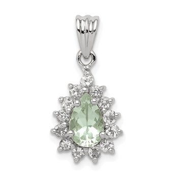 Sterling Silver Rhodium Green Quartz Pendant