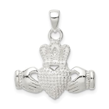 Sterling Silver Polished Claddagh Pendant