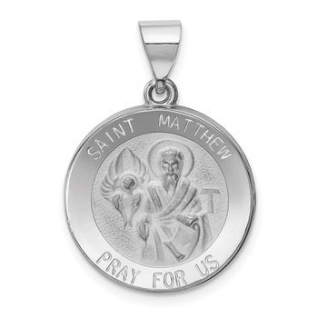 14k White Gold Polished and Satin St Matthew Hollow Pendant
