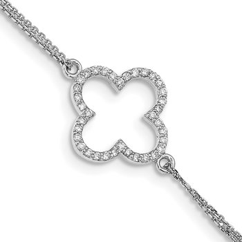 14k White Gold 2 Strand A Diamond Quatrefoil Design w/1in Ext. Bracelet