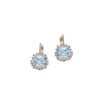 Dew Drop Snowflake Earrings - Blue Topaz