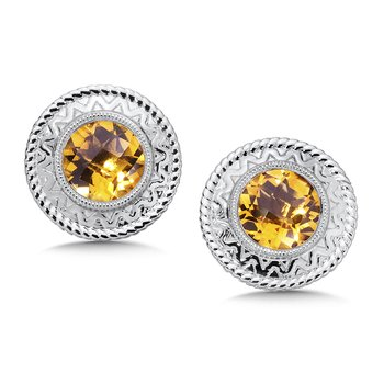 Sterling Silver Citrine Cairo Post Earrings