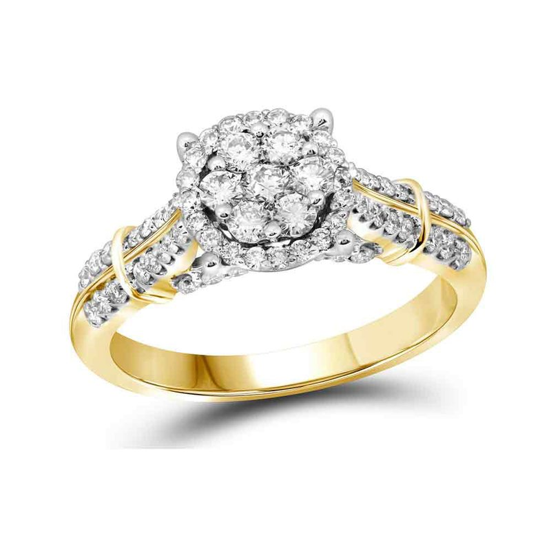 Gold-N-Diamonds, Inc. (Atlanta) 10kt Yellow Gold Womens Round Diamond Flower Cluster Bridal Wedding Engagement Ring 3/4 Cttw
