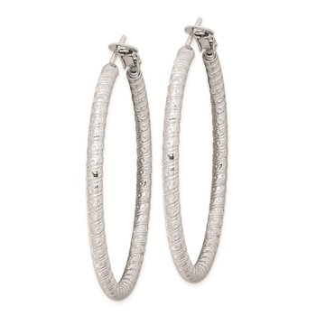 Sterling Silver Rhod-plated 3.25x50mm Omega Back Hoop Earrings