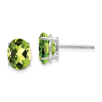 14k White Gold 8x6mm Oval Peridot Earrings
