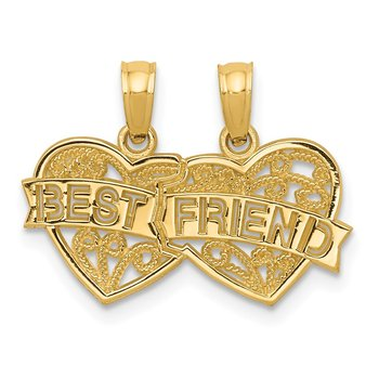 14K BEST FRIEND Breakable Double Hearts Pendant