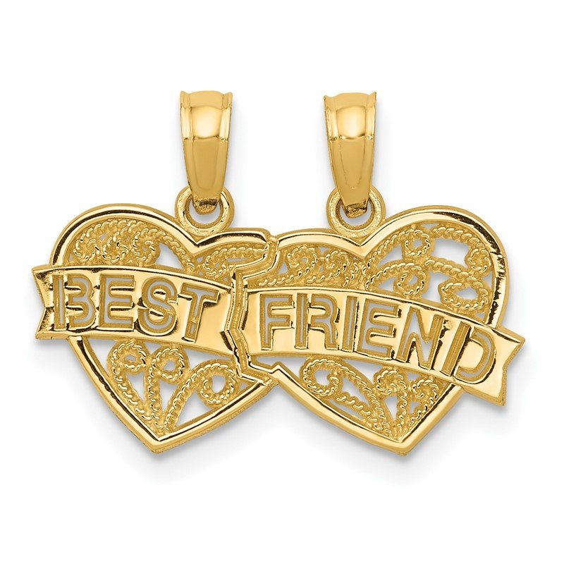 Quality Gold 14K BEST FRIEND Breakable Double Hearts Pendant