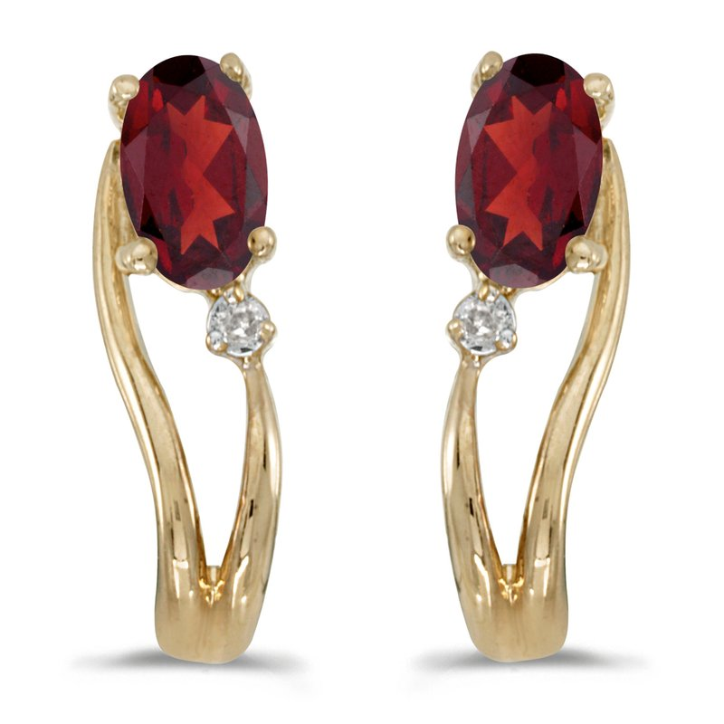 Color Merchants 14k Yellow Gold Oval Garnet And Diamond Wave Earrings