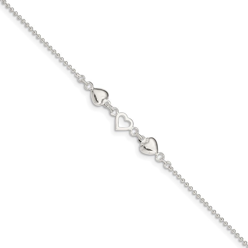 Quality Gold Sterling Silver 9inch Plus 1in Ext Polished Hearts Anklet