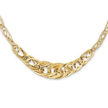 14k Yellow Gold Textured Fancy Link 18 inch Necklace