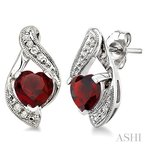 Crocker's Collection heart shape gemstone & diamond earrings