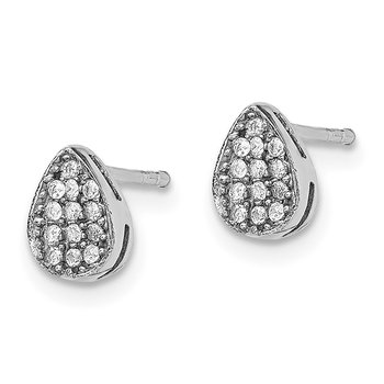 Sterling Silver Rhodium-plated CZ Polished Teardrop Post Earrings