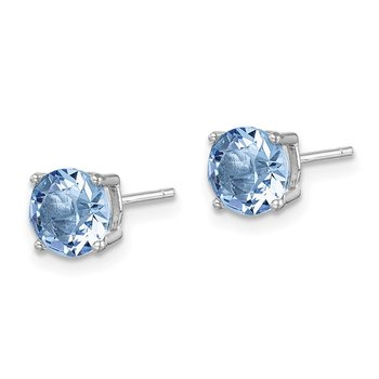 Sterling Silver Rhod-pltd Light Blue Swar Crystl Birthstone Earrings
