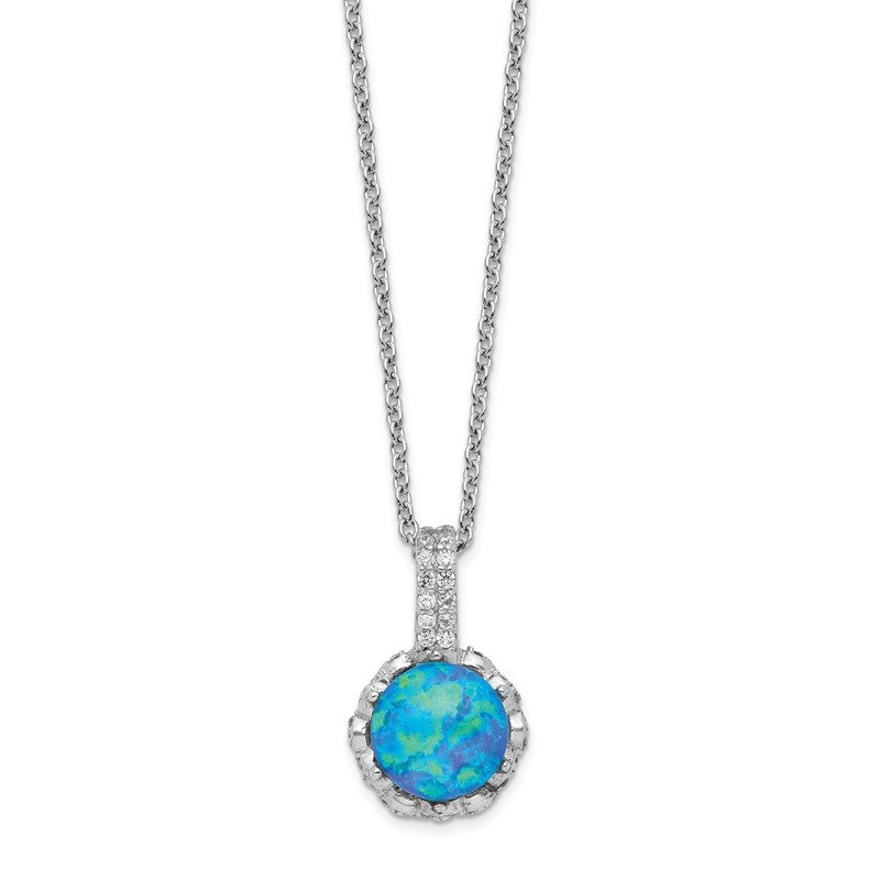 Cheryl M Cheryl M SS Rhodium Plated CZ & Created Blue Opal 18.25in Necklace
