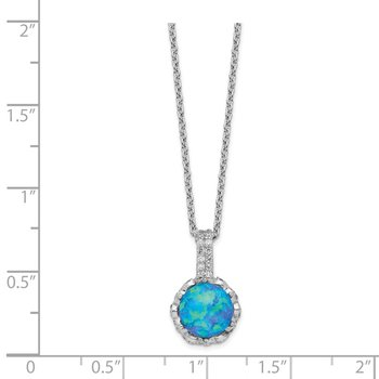 Cheryl M SS CZ & Lab Created Blue Opal Necklace