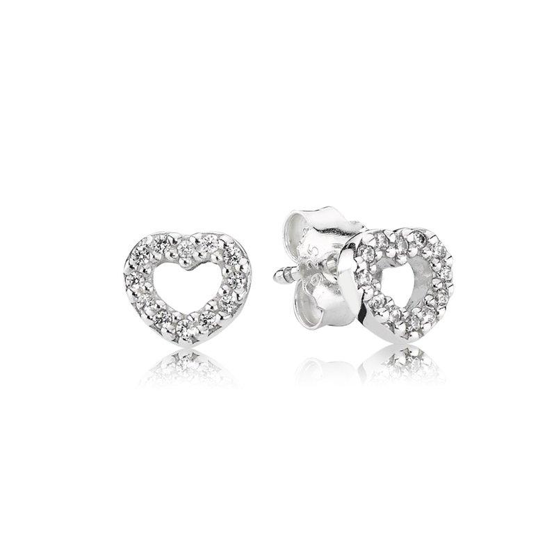 Pandora Be My Valentine Heart Stud Earrings Clear Cz