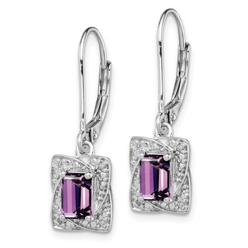 Sterling Silver Rhodium-plated Diamond & Amethyst Earrings