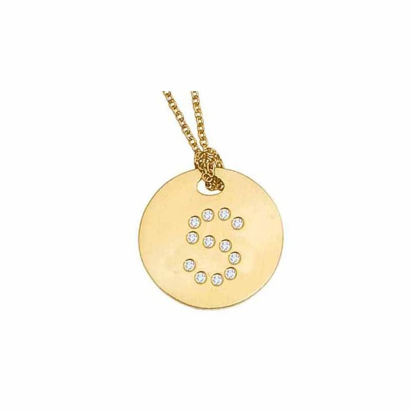 Roberto Coin 18Kt Gold Disc Pendant With Diamond Initial S