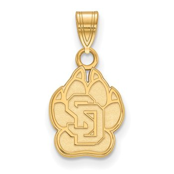 Gold-Plated Sterling Silver University of South Dakota NCAA Pendant