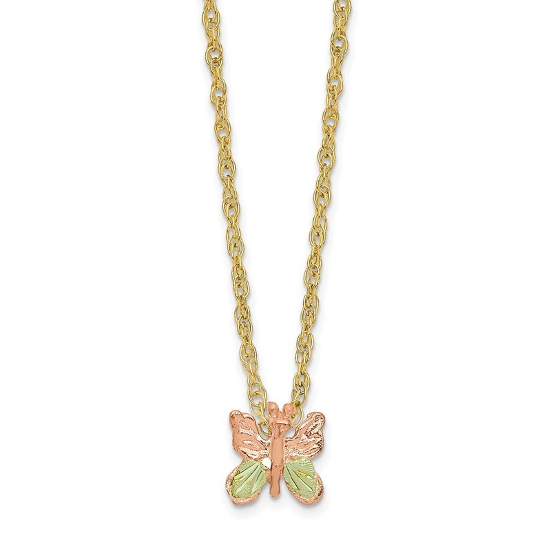 Quality Gold 10k Tri-Color Black Hills Gold Butterfly Necklace