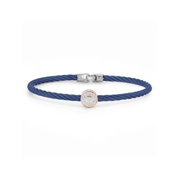 Blueberry Cable Essential Stackable Bracelet with Single Large Round Diamond station set in 18kt Rose Gold