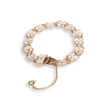 White Dogwood Chain-link Bracelet.Rose Gold Plated Sterling Silver-Akoya Pearls