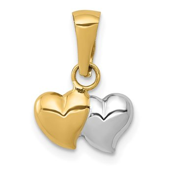 14K w/White Rhodium Double Heart Pendant