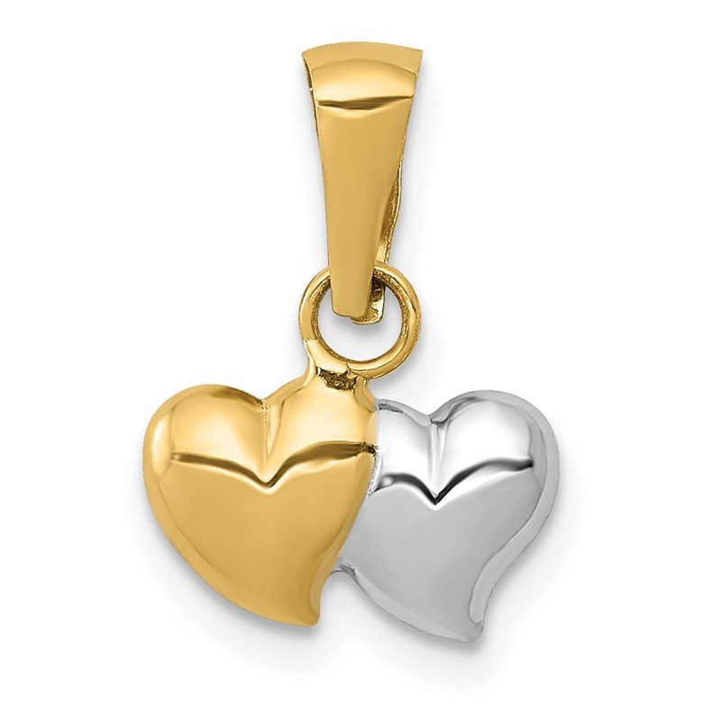 Quality Gold 14K w/White Rhodium Double Heart Pendant