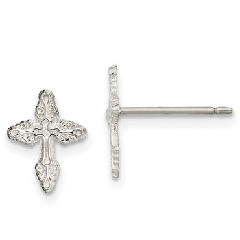 Sterling Silver Cross Mini Earrings