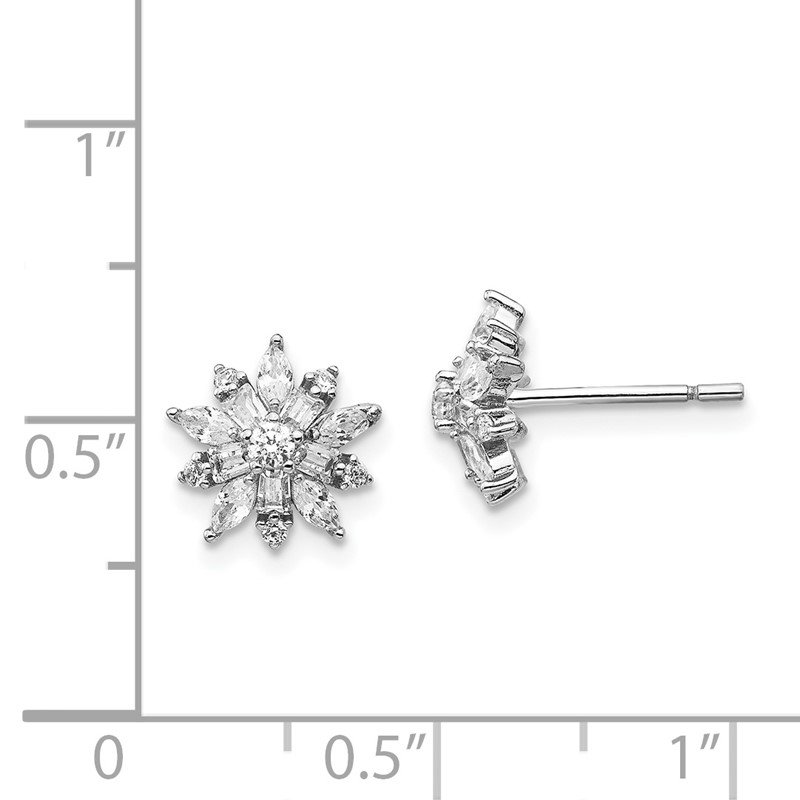 Cheryl M Cheryl M Sterling Silver Rhodium Plated CZ Post Earrings