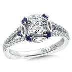 Valina Diamond and Blue Sapphire Halo Engagement Ring Mounting in 14K White Gold (.25 ct. tw.)