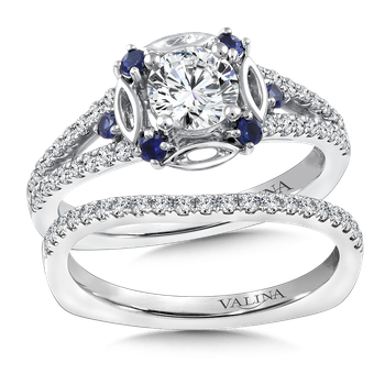 Diamond and Blue Sapphire Halo Engagement Ring Mounting in 14K White Gold (.25 ct. tw.)