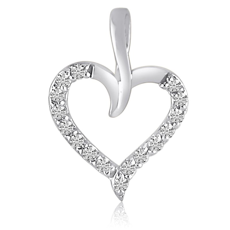 Color Merchants 14K White Gold Diamond Heart Pendant