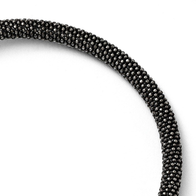 Leslie's Leslie's Sterling Silver and Ruthenium-plated Magnetic Bracelet