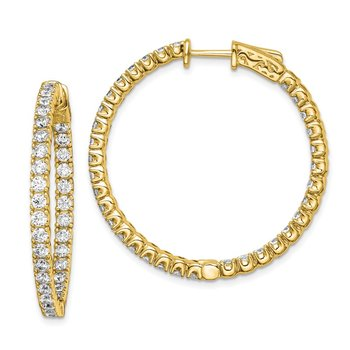 Sterling Silver Gold-tone CZ In and Out Round Hoop Earrings