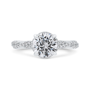 18K White Gold Round Diamond Crossover Shank Engagement Ring (Semi-Mount)