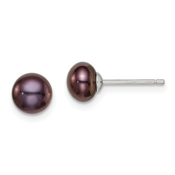 Sterling Silver Rh-plated 6-7mm FW Cultured Button Pearl Black Earrings