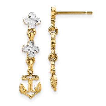 14K w/Rhodium Polished & D/C Anchor Dangle Post Earrings