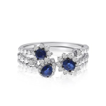 14k White Gold Stackable Sapphire and Diamond S/3 Rings