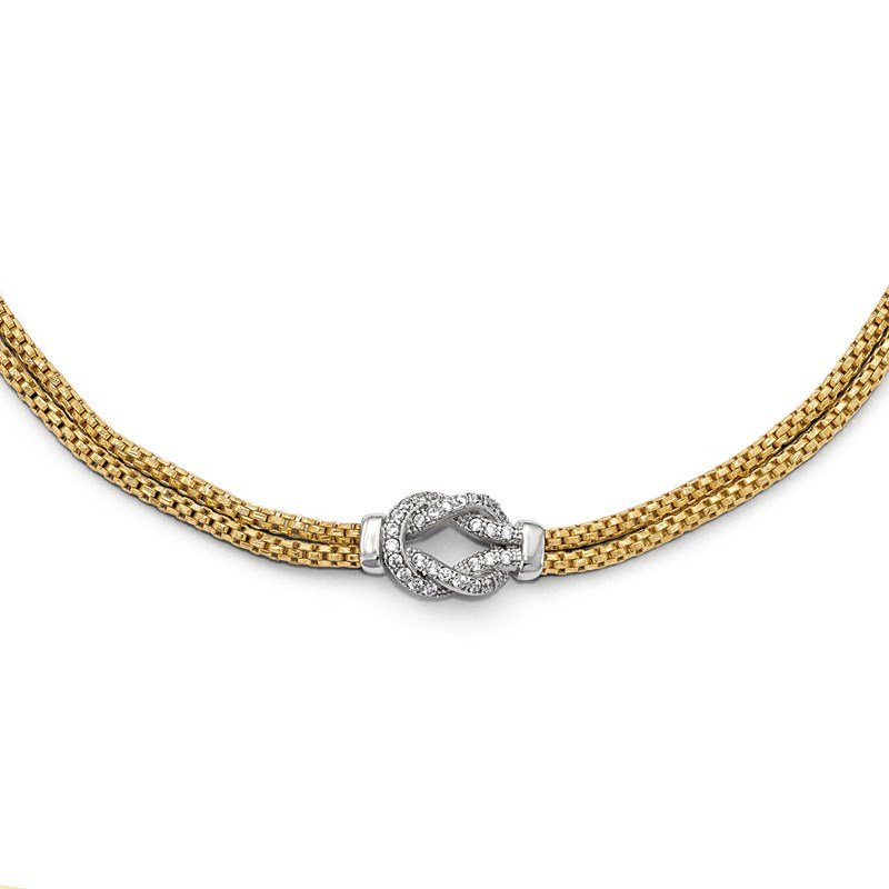 Leslie's Leslie's Sterling Silver Gold-tone Rhodium-plated CZ w/1in ext. Bracelet