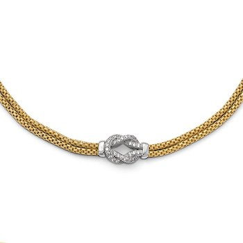 Leslie's Sterling Silver Gold-tone Rhodium-plated CZ w/1in ext. Bracelet